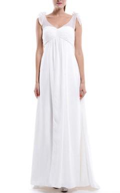 A-line Long Chiffon&Lace&Satin Dress With Lace-up Back