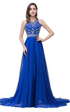 Newest Royal Blue Chiffon 2016 Prom Dress A-line Beadings Sweep Train