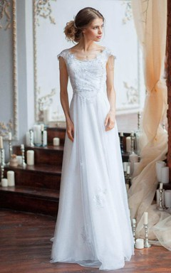 Bell Sleeve Tulle Satin Beaded Embroidered Wedding Dress