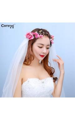 Korean Cute Bride Headdress Wreath Wedding Accessories Elegant Juan Yarn Holiday Yarn Hair Accessories