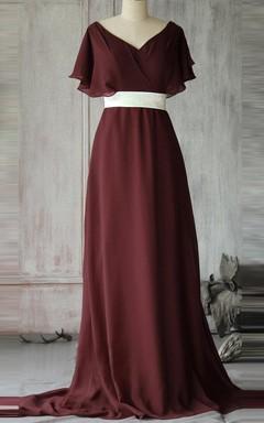 Empire Floor-length V-neck Chiffon Dress