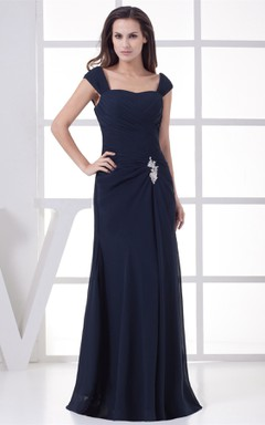 Caped-Sleeve Ruched Floor-Length Dress with Broach
