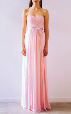 Pink Strapless Sweetheart Zipper Dress
