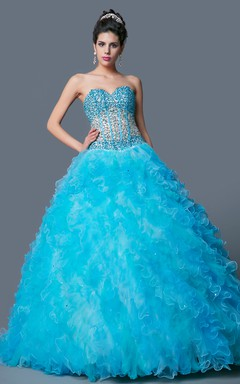 Sparkling Bodice Sweetheart Neckline Sexy Visible Boning Structure Evening Gown