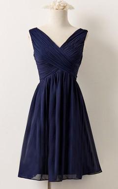 Short V-neck Chiffon Dress