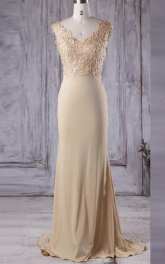 Long V-neck Chiffon&Lace Dress With Beading&Illusion