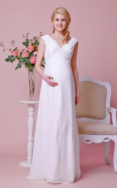 Sexy Cap-sleeved Low-v Neck A-line Chiffon Gown With Empire Waist