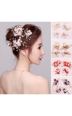 Bride Headdress Powder Purple Sapphire Red Champagne Hairpin Korean Sea Honeymoon Bridesmaid Headdress