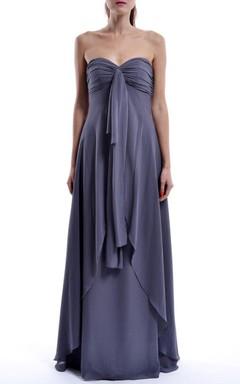 Grey Long Sweetheart Chiffon Dress