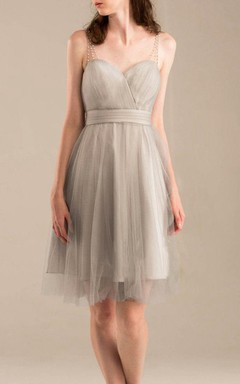 Short Knee-length Strapped Backless Tulle Dress With Beading