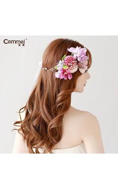 Bauhinia Bride Headdress Honeymoon Wedding Photographer Mori Seaside Beach Hairband Hoop Floral Ornament