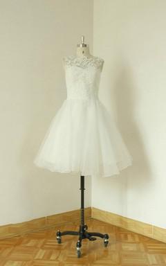 Jewel Sleeveless Button Back A-Line Short Organza Wedding Dress