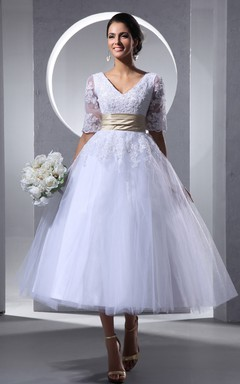 Glam Tea-Length Half-Sleeve Dress With Soft Tulle