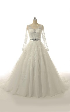 A-Line Long Sleeve Tulle Lace Weddig Dress