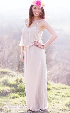 Long Chiffon Dress With Pleats