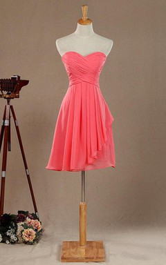 A-line Short Knee-length Floor-length Sweetheart Chiffon&Satin Dress