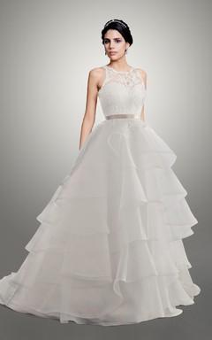 Sweetheart Organza Wedding Dress With Ribbon And Keyhole
