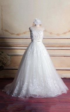 Ball Gown Cap Sleeve Chapel Train Tulle Lace Dress With Beading Flower