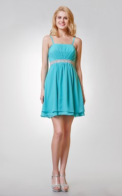 Lovely Spaghetti Strap Ruched Bust Short Dress with Beaded Waist