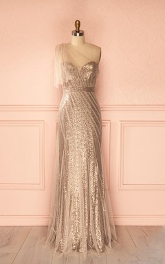 Luxurious One-shoulder Tulle And Sequins Sheath Dress