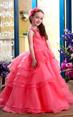 One-Shoulder Tiered A-Line Flower Girl Dress With Beaded Top