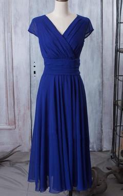 Long V-neck Cap Sleeve Chiffon Dress