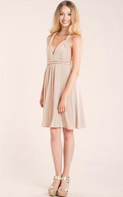Short Knee-length Strapped Jersey&Satin Dress