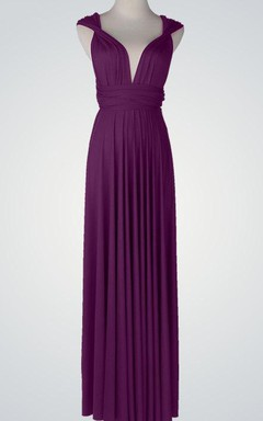 Cap Chiffon Floor-Length Dress With Pleats