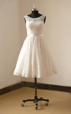 Bateau Neck Sleeveless Tea-Length Lace Wedding Dress With Satin Sash