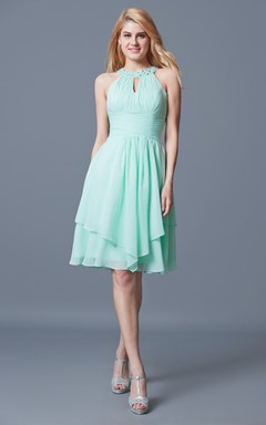 Halter Short Empire Chiffon Bridesmaid Dress With Ruffles