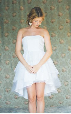 Cute Tiered Asymmetrical Wedding Dress Strapless
