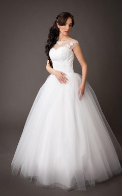 Vintage Tulle Ball Gown With Lace Embellished Bodice and Pearls