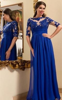 Modern Lace Appliques Chiffon Evening Dress 2016 Royal Blue A-line