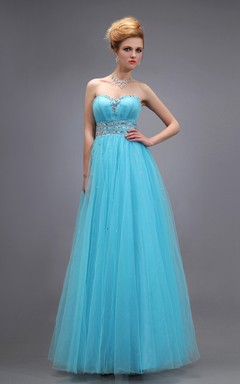 Tulle Long Empire Sweetheart Sleeveless Dress With Front Gathering Bodice