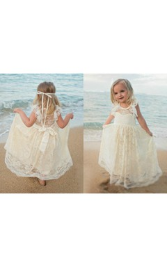 Rustic Country Ruffled Sleeve Lace Dresses With Cream and Ivory Lace