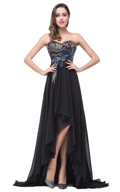 Newest Black Chiffon Peacock 2016 Prom Dress Hi-Lo Sweep Train