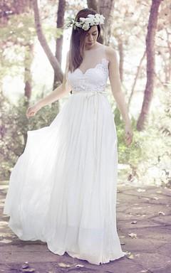 Spaghetti Sleeveless Illusion Chiffon Pleated Wedding Dress With Appliques