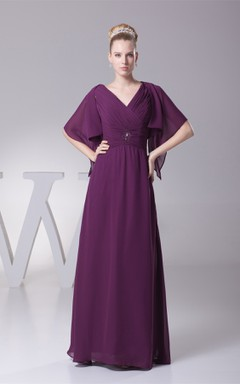 Plunged Criss-Cross Chiffon Maxi Dress with Broach and Bolero