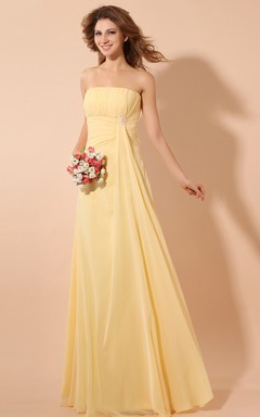 Chiffon Strapless Empire Dress With Draping And Broach