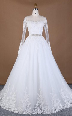 Ball Gown Long Sleeve Lace Weddig Dress With Beading Broach