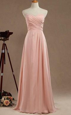 Strapped Sweetheart Chiffon&Satin Dress