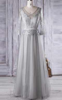 A-line Floor-length V-neck Tulle&Lace Dress