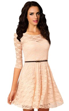 3/4 Sleeved A-line Lace Dress With Belt