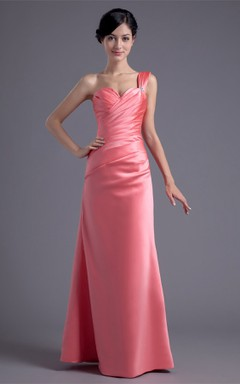 sweetheart satin maxi criss-cross dress with single strap and broach
