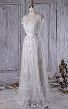 A-Line Maxi Cap Sleeve Tulle Lace Weddig Dress With Beading