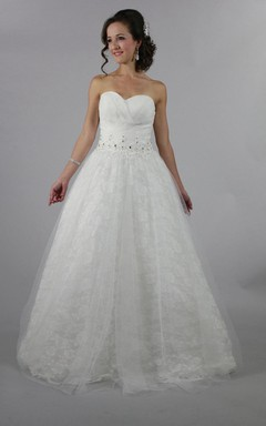 Rose Lace Sweetheart Ball Gown With Crisscross and Beading