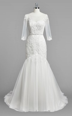 Scoop Neck 3/4 Sleeve Mermaid Lace and Tulle Wedding Dress With Beading