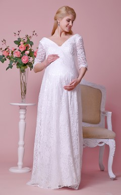 Allover Lace Deep-v Neck Gown With 3 4 Sleeves