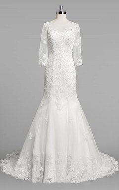 Bateau Neck 3 4 Sleeve Mermaid Lace Wedding Dress With Beading