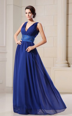 Empire A-Line V-Neck Low Graceful Gown With Crystal Detailing Waist
